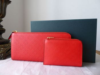 Mulberry Long Part Zip Around Continental Purse and Coin Pouch in Fiery Red Tree Debossed Leather - New*