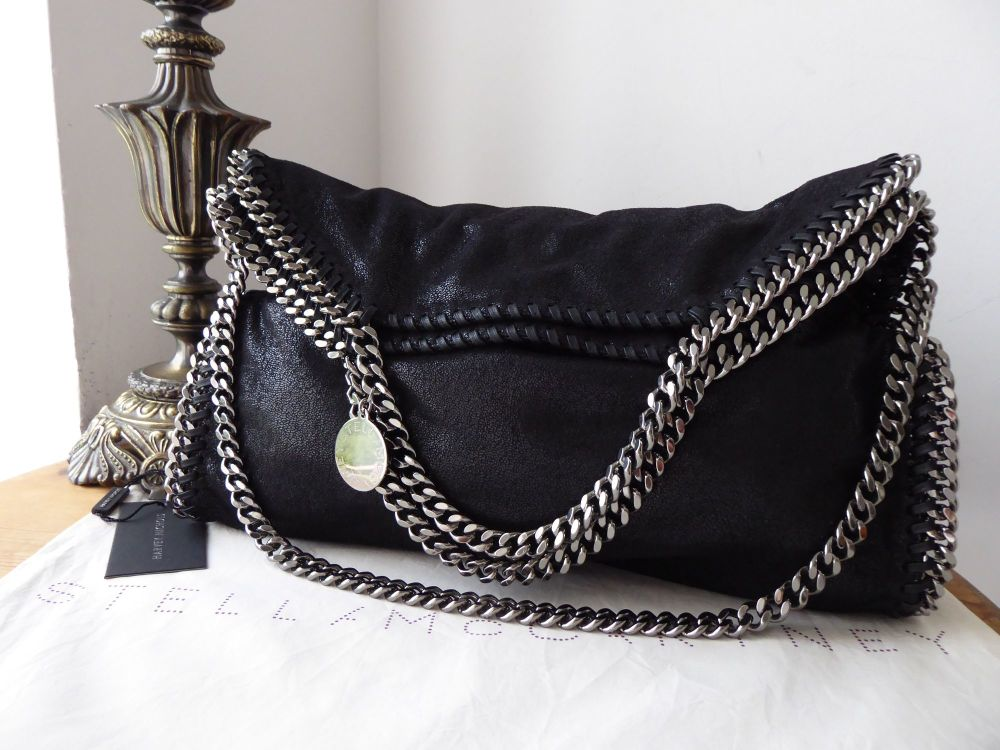 Stella McCartney Medium Falabella Fold Over Tote in Black Shaggy Deer