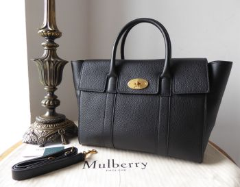 Mulberry Bayswater with Strap in Black Small Classic Grain - New