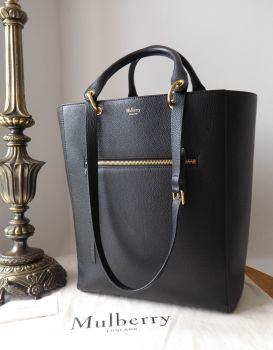 Mulberry Large Maple Tote in Black Small Classic Grain Leather with Golden Brass Hardware