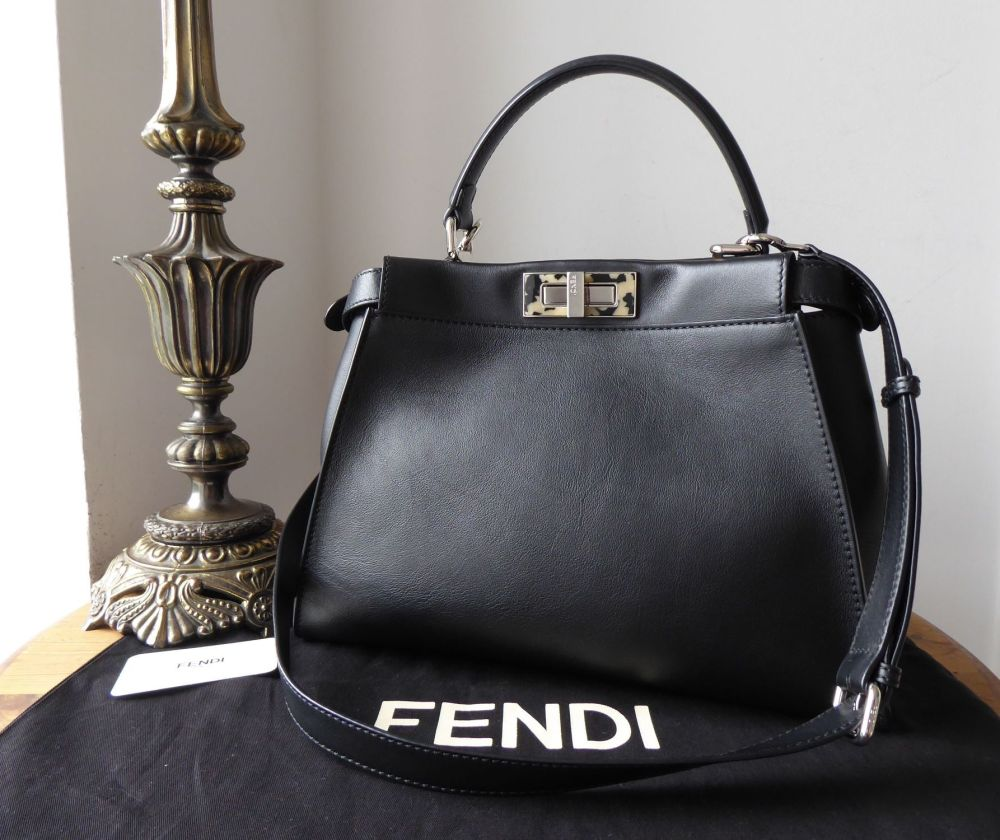 Fendi Iconic Medium Peekaboo Plexi in Black Calfskin with Palladium Hardwar