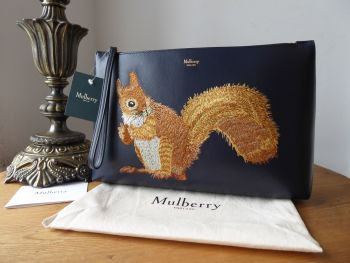 Mulberry Squirrel Embroidered Large Wristlet Clutch / Zip Pouch in Midnight Blue Smooth Calf Leather - New