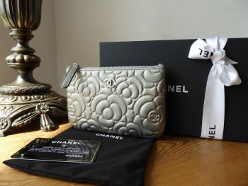 Chanel Mini O Case Zip Pouch in Camellia Embossed Metallic Silver Calfskin - As New*