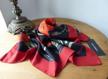 Dolce & Gabanna Dark Florals Carnation Print Square Scarf in 100% Silk - New