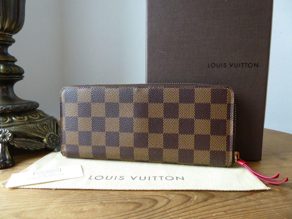 Louis Vuitton Clemence Continental Purse Wallet in Damier Ebene Cherry