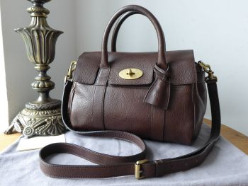 Mulberry Classic Heritige Small Bayswater Satchel in Chocolate Natural Vegetable Tanned Leather