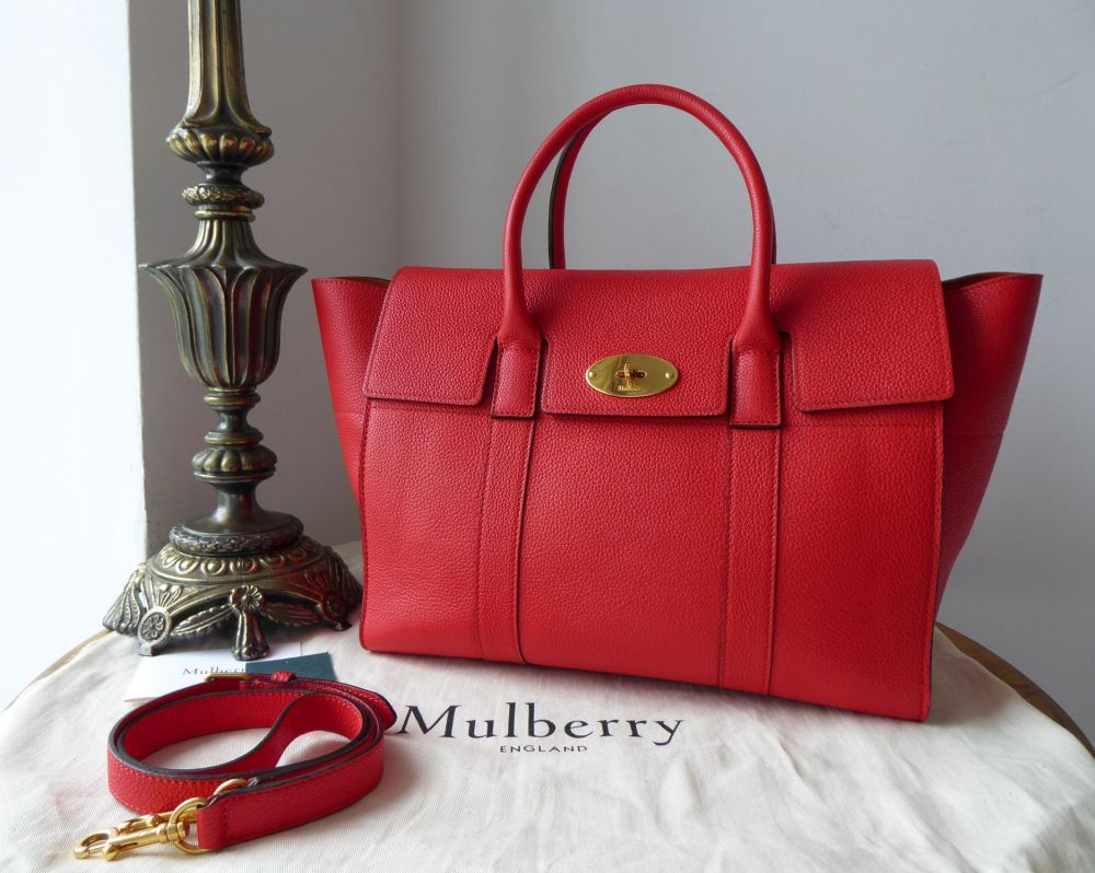 Mulberry Bayswater with Strap in Fiery Red Small Classic Grain Leather