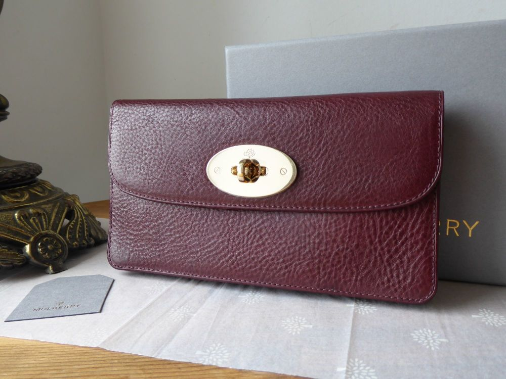 Mulberry Classic Long Locked Purse in Oxblood Coloured Vegetable Tanned Lea