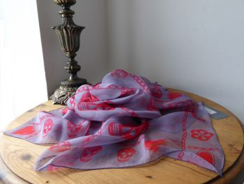 Alexander McQueen Multi Skull Charms Scarf in Mauve Parma Grey with Red Skulls in 100% Silk Chiffon - New