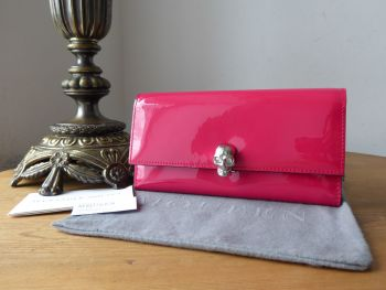 Alexander McQueen Skull Continental Purse Wallet in Shocking Fuchsia Pink Patent - New*