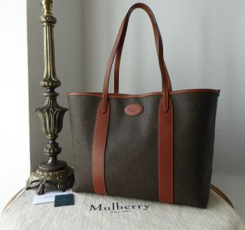 Mulberry Bayswater Heritage Scotchgrain Tote Shopper in Mole and Cognac - New