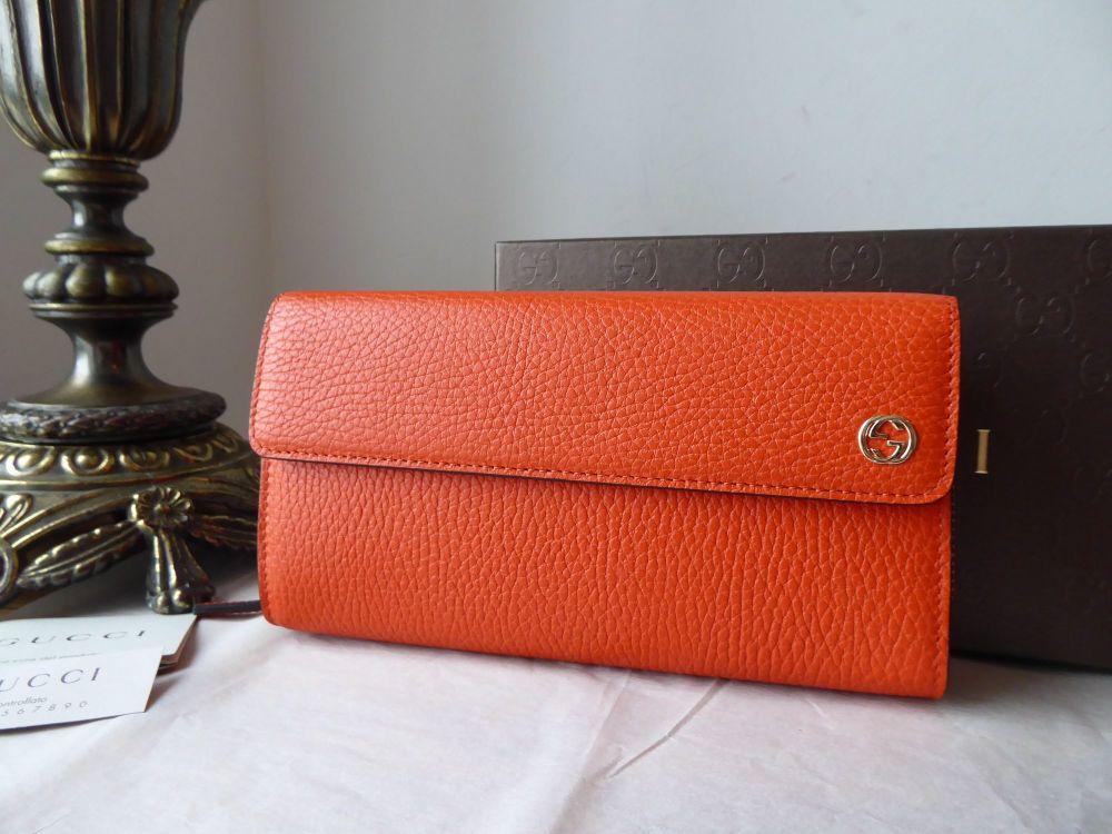 Gucci Dollar Large BiFold Continental Wallet Purse in Orange Calfskin - New