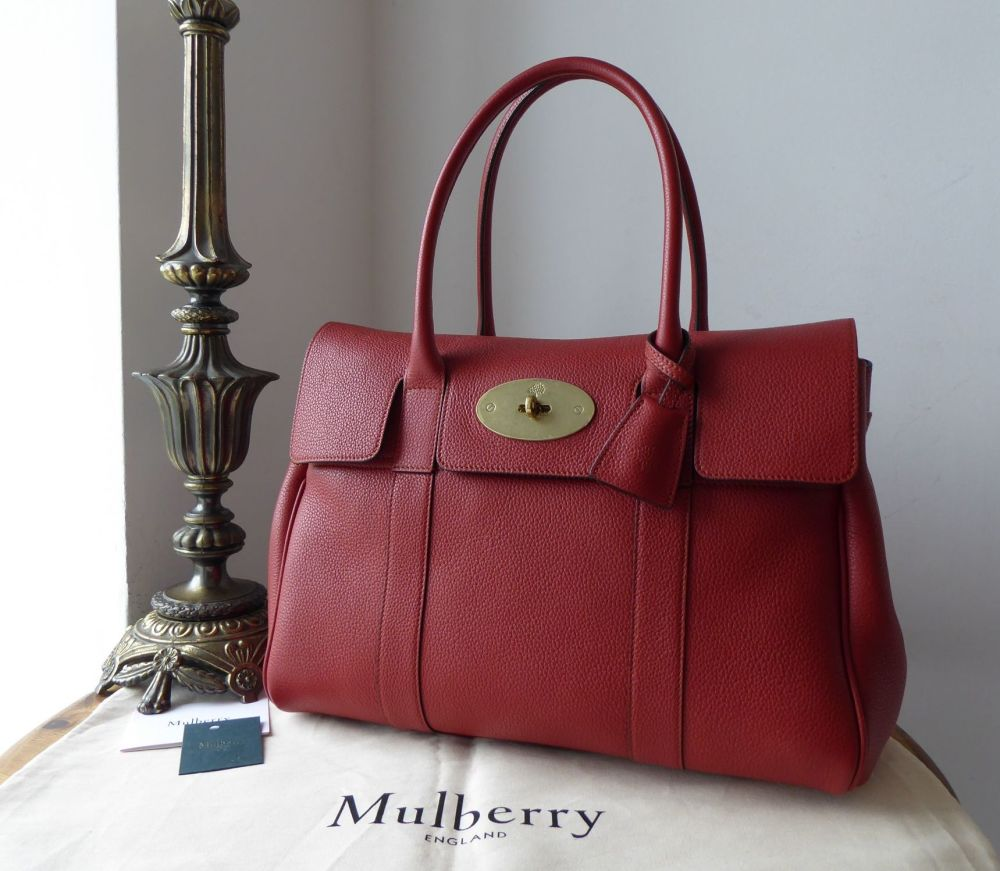 Mulberry Classic Heritage Bayswater in Rust Red Small Classic Grain  - New