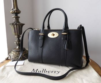 Mulberry Small Double Zip Bayswater Tote in Black Small Classic Grain Leather - New