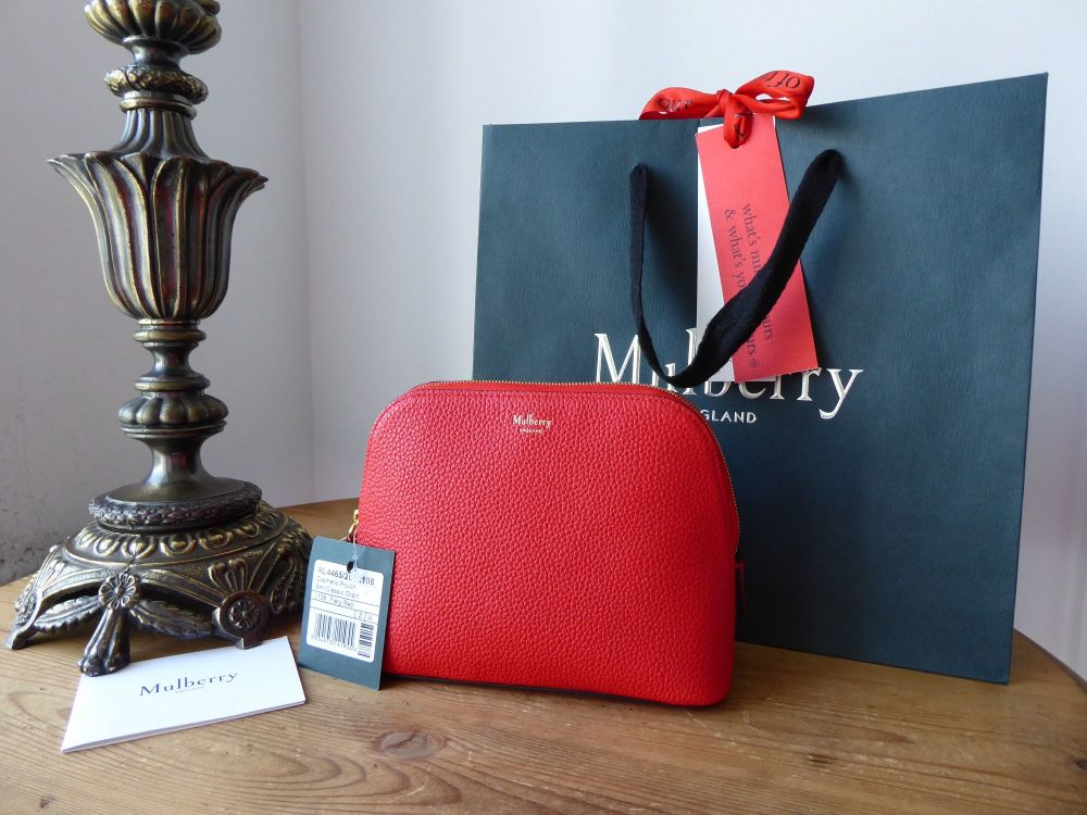 Mulberry Continental Cosmetic Pouch Bag in Fiery Red Small Classic Grain Le