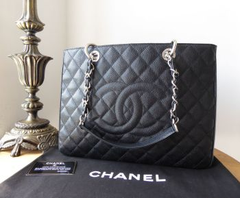 Chanel Grand Shopping Tote GST in Black Caviar with Silver Hardware
