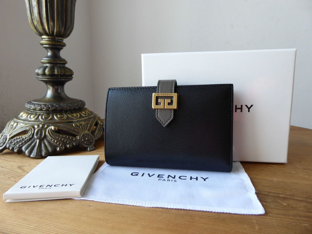 Givenchy Two Toned GV3 Wallet Medium Purse in Black and Grey Goatskin - As