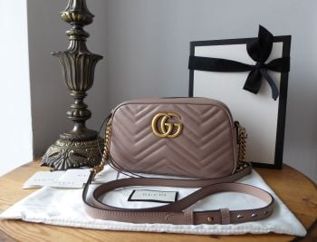 Gucci GG Marmont Small Shoulder Camera Bag in Dusty Pink Matelassé Calfskin - As New