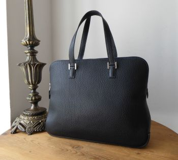 Hermés Escapada in Bleu Indigo Clemence Leather with Palladium Hardware