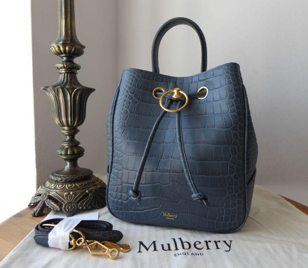 Mulberry Hampstead Bucket Bag in Dark Stone Matte Croc Printed Calfskin - N
