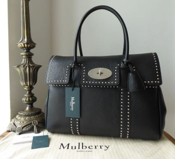 Mulberry Heritage Bayswater with Brushed Silver Rivets in Black Small Classic Grain - New
