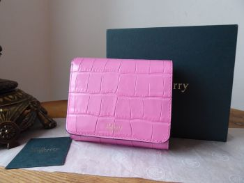 Mulberry Small Continental French Purse Wallet in Raspberry Pink Shiny Croc