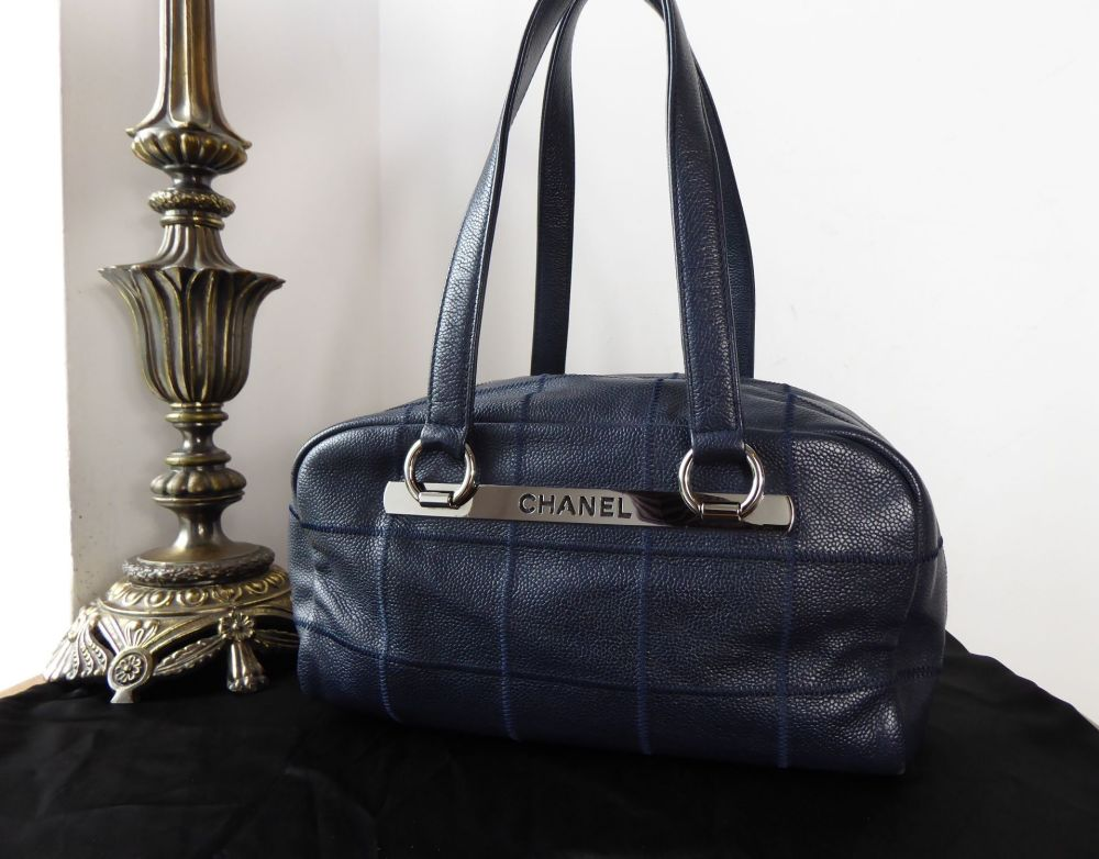 Chanel Vintage Zipped Boston in Choc Box Stitched Navy Blue Soft Caviar wit
