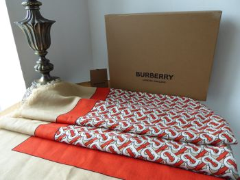 Burberry TB Monogram Print Lightweight Rectangular Cashmere Scarf Wrap in Vermillion - As New