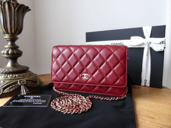 Chanel Classic Wallet on Chain WoC in Burgundy Caviar with Gold Hardware - New*
