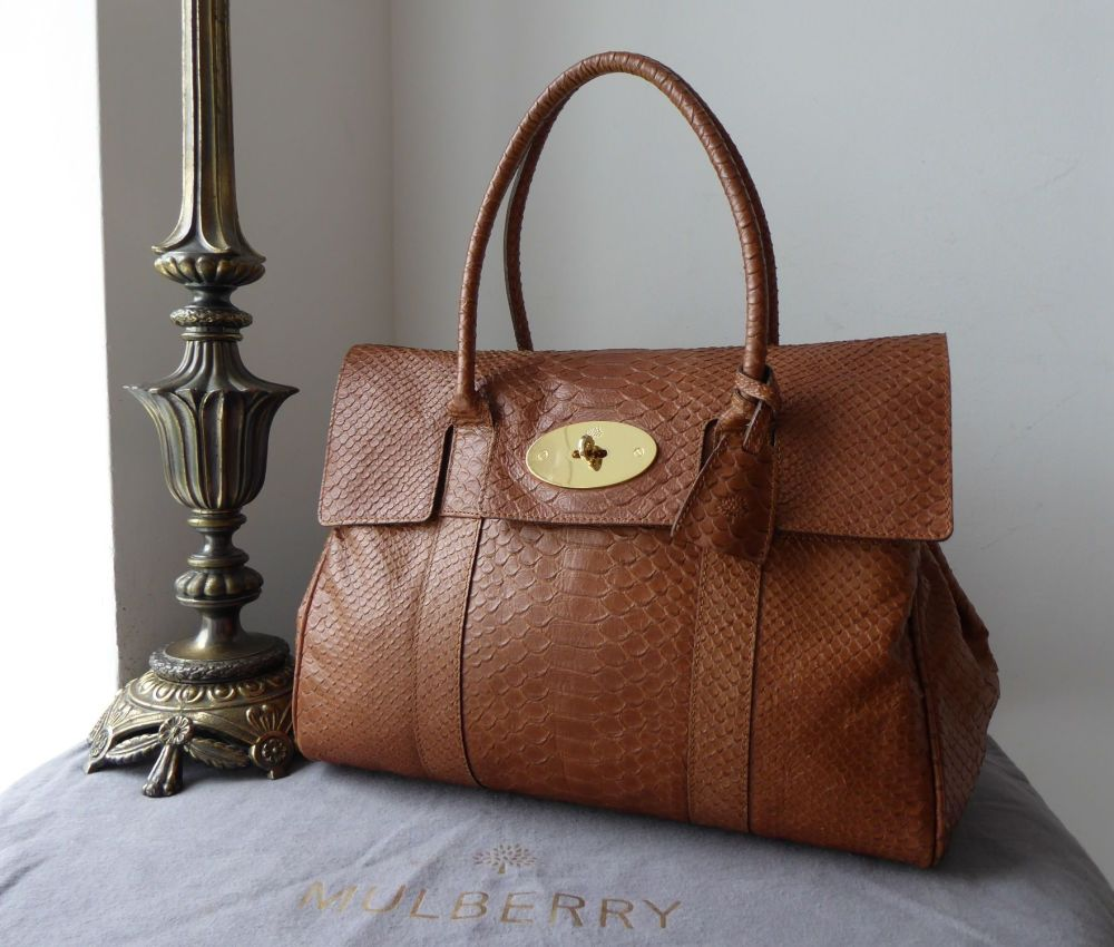 Mulberry Classic Bayswater in Oak Silky Snake Printed Calfskin