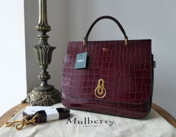 Mulberry Large Amberley in Burgundy Shiny Croc Printed Calfskin - New*