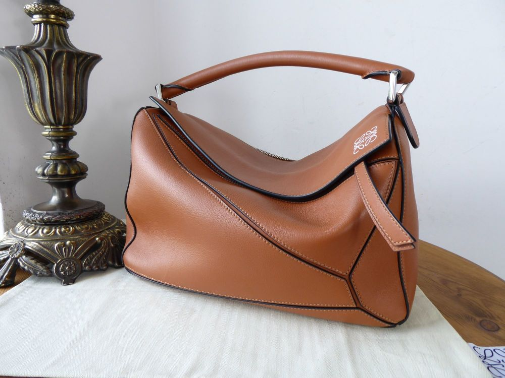 LOEWE Medium Puzzle Bag in Tan Calfskin with Palladium Silver Hardware