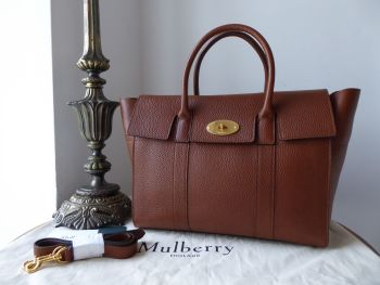 Mulberry Large Bayswater with Strap in Oak Grain Vegetable Tanned Leather - As New
