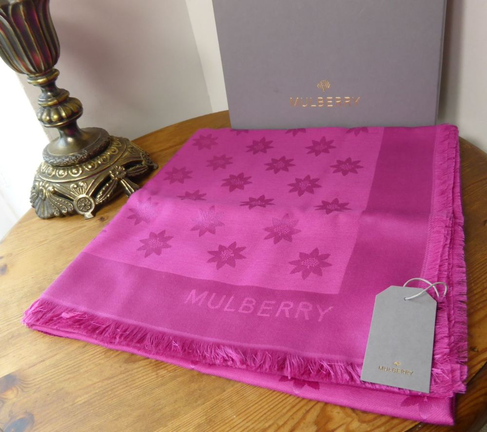 Mulberry Monogram Star Jacquard Scarf in Mulberry Pink Silk & Wool - New*