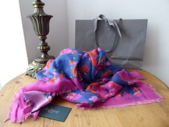 Mulberry Bouquet Flowers Large Square Printed Wrap in Midnight Modal Silk Mix - New*