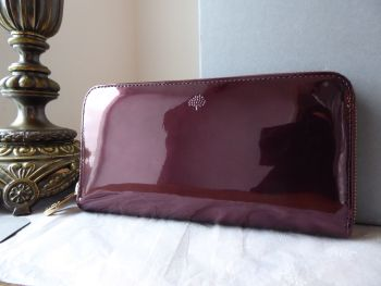 Mulberry Long Zip Around Continental Purse Wallet in Oxblood Mirror Metallic Leather