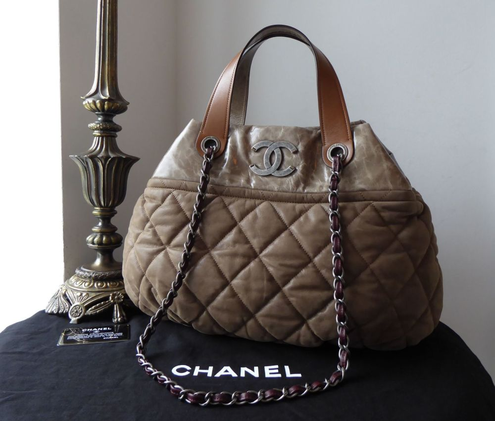 Chanel In the Mix Large Shoulder Tote in Olive Iridescent Velvet Quilted Ca