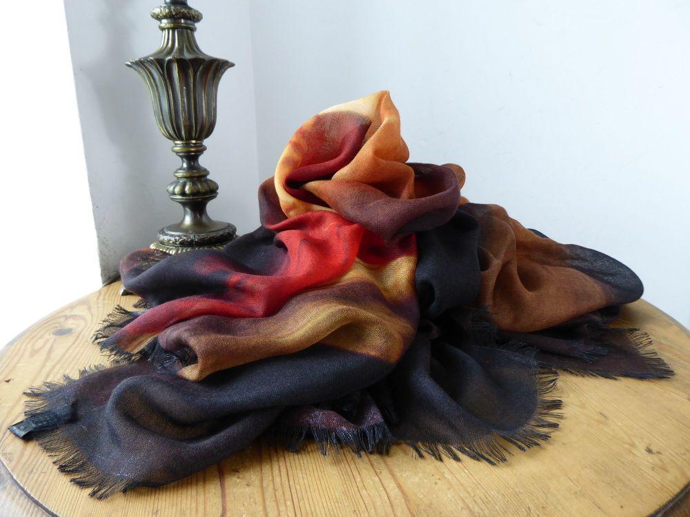 Givenchy Faun Art Print XL Wrap Scarf in Cashmere Silk Blend