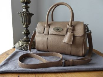 Mulberry Classic Small Bayswater Satchel Mushroom Grey Small Classic Grain Leather
