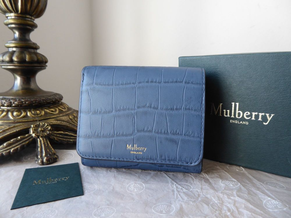 Mulberry Small Continental French Purse Wallet in Pale Navy Matte Croc Prin