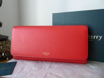 Mulberry Continental Flap Long Wallet Purse in Hibiscus Red Small Classic Grain - New