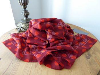 Alexander McQueen Polka Dots Skull Scarf in Russet Red 100% Wool - New