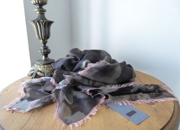 Alexander McQueen Ghost Skulls Large Square Scarf Wrap in Modal Silk Mix - New