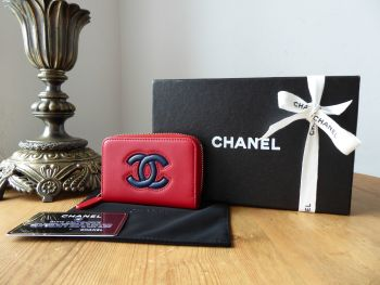 Chanel Small Zip Around Coin Card Case in Red and Blue Lambskin - As New