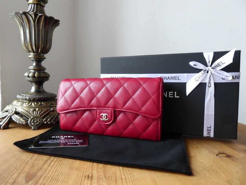 Chanel Classic Large Flap Wallet in Raspberry Red Caviar with Shiny Silver