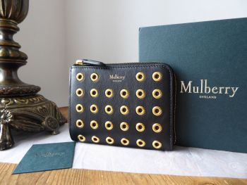 Mulberry Part Zip Coin Purse Pouch in Black Shiny Calf with Eyelets - New