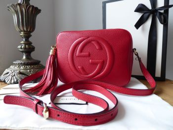 Gucci Soho Disco Crossbody Shoulder Bag in Red Pebbled Calfskin