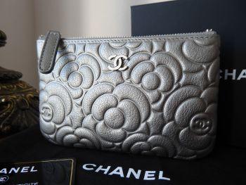 Chanel Mini O Case Zip Pouch in Camellia Embossed Metallic Silver Calfskin