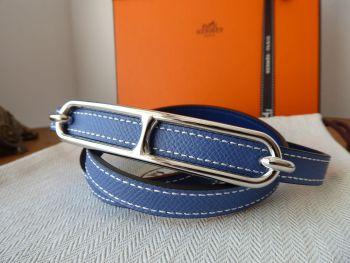 Hermés Roulis Reversible Leather Belt Strap & Palladium Silver Buckle