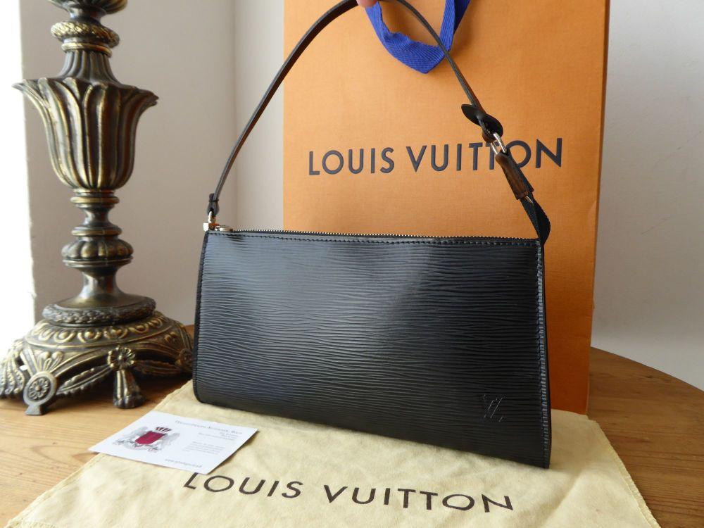 Louis Vuitton Pochette in Epi Noir with Silver Hardware